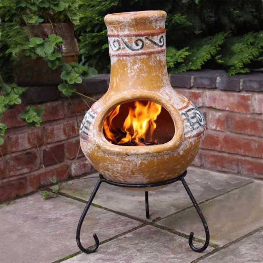 Chiminea with fire in it