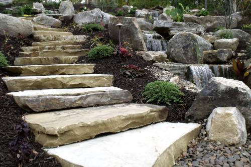Natural Stone steps beside waterfalls