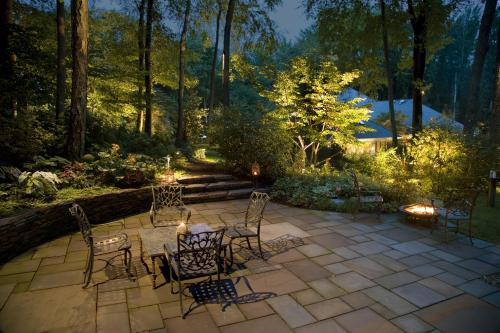 Landscape lighting, wooded area