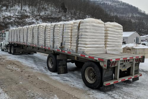 Truckload of hardwood pellets for delivery