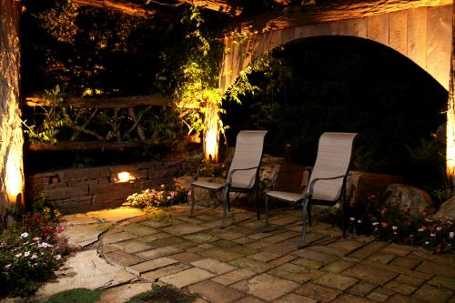Lighted backyard patio seating