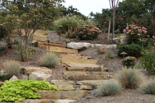 A natural stone step path